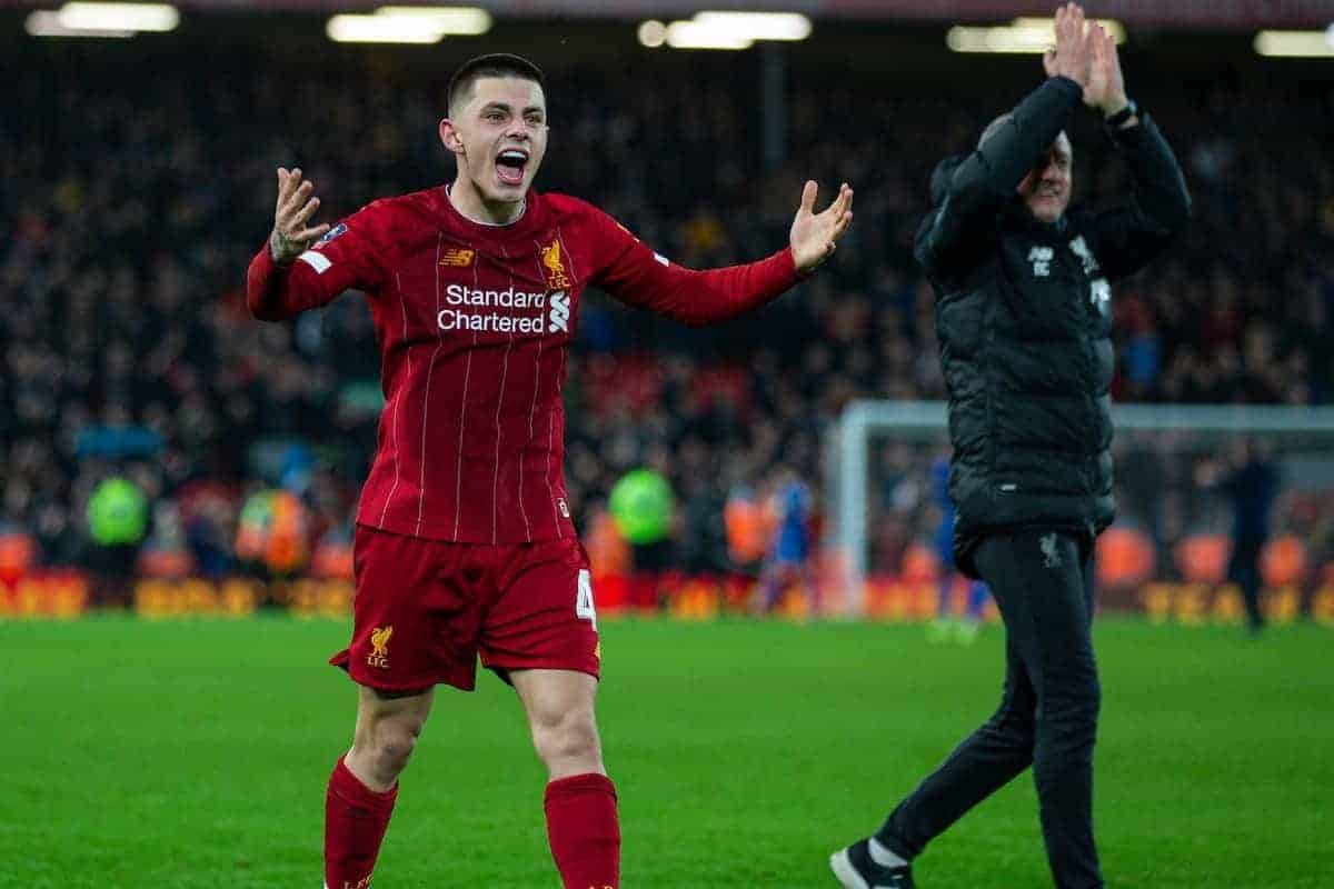 LIVERPOOL, ENGLAND - Tuesday, February 4, 2020: Liverpool's Adam Lewis celebtates after the FA Cup 4th Round Replay match between Liverpool FC and Shrewsbury Town at Anfield. Liverpool won 1-0. (Pic by David Rawcliffe/Propaganda)