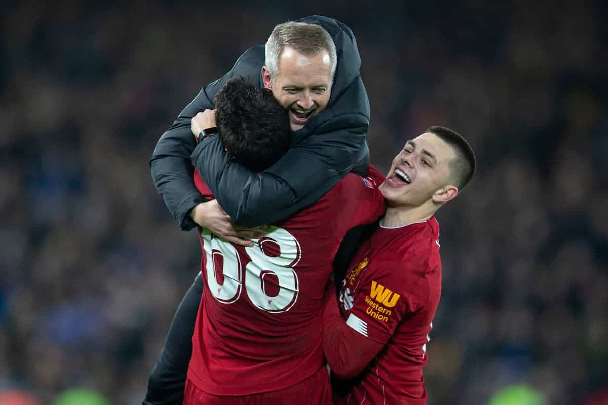 LIVERPOOL, ENGLAND - Tuesday, February 4, 2020: Liverpool's Adam Lewis (R) and Pedro Chirivella (L) celebrate with Under-23 manager Neil Critchley (C) after the FA Cup 4th Round Replay match between Liverpool FC and Shrewsbury Town at Anfield. Liverpool won 1-0. (Pic by David Rawcliffe/Propaganda)