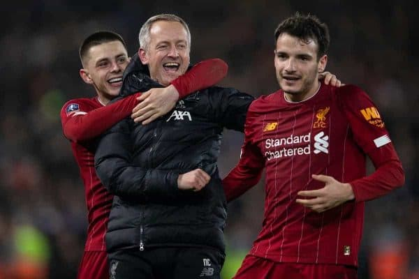 LIVERPOOL, ENGLAND - Tuesday, February 4, 2020: Liverpool's Adam Lewis (L) and Pedro Chirivella (R) celebrate with Under-23 manager Neil Critchley (C) after the FA Cup 4th Round Replay match between Liverpool FC and Shrewsbury Town at Anfield. Liverpool won 1-0. (Pic by David Rawcliffe/Propaganda)