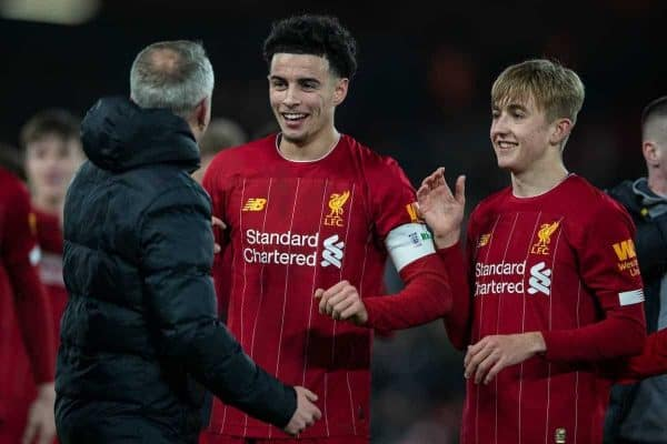 LIVERPOOL, ENGLAND - Tuesday, February 4, 2020: Liverpool's Curtis Jones (C) and Leighton Clarkson (R) celebrate with Under-23 manager Neil Critchley (L) after the FA Cup 4th Round Replay match between Liverpool FC and Shrewsbury Town at Anfield. Liverpool won 1-0. (Pic by David Rawcliffe/Propaganda)