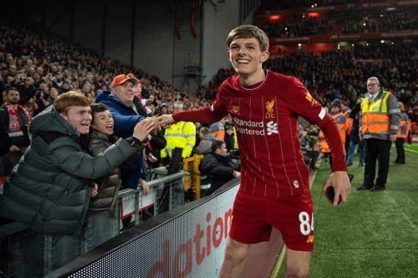 LIVERPOOL, ENGLAND - Tuesday, February 4, 2020: Liverpool's Leighton Clarkson celebrates after the FA Cup 4th Round Replay match between Liverpool FC and Shrewsbury Town at Anfield. Liverpool won 1-0. (Pic by David Rawcliffe/Propaganda)