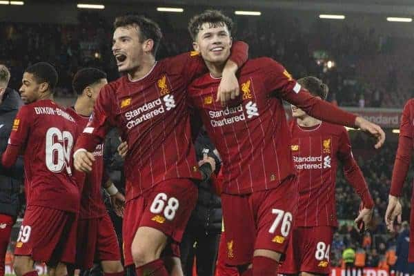 LIVERPOOL, ENGLAND - Tuesday, February 4, 2020: Liverpool's Pedro Chirivella (L) and Neco Williams (R) celebrate after the FA Cup 4th Round Replay match between Liverpool FC and Shrewsbury Town at Anfield. Liverpool won 1-0. (Pic by David Rawcliffe/Propaganda)