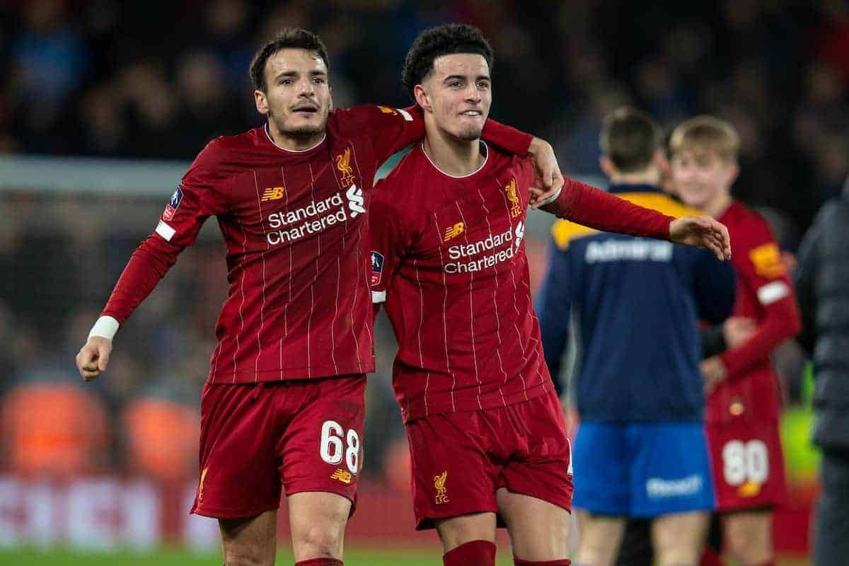 LIVERPOOL, ENGLAND - Tuesday, February 4, 2020: Liverpool's Pedro Chirivella (L) and Curtis Jones (R) celebrate after the FA Cup 4th Round Replay match between Liverpool FC and Shrewsbury Town at Anfield. Liverpool won 1-0. (Pic by David Rawcliffe/Propaganda)