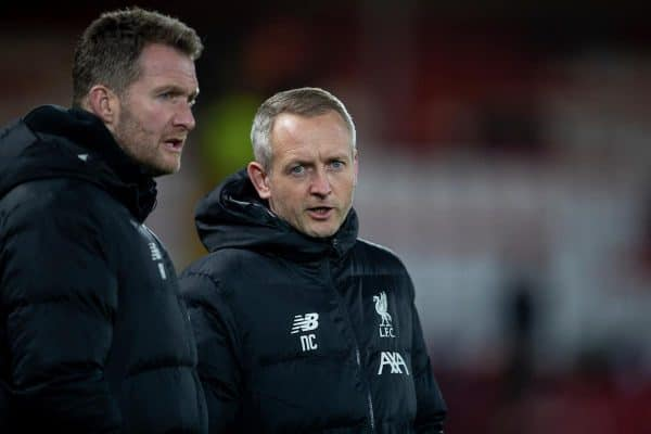 LIVERPOOL, ENGLAND - Tuesday, February 4, 2020: Liverpool's Under-23 manager Neil Critchley (R) during the FA Cup 4th Round Replay match between Liverpool FC and Shrewsbury Town at Anfield. (Pic by David Rawcliffe/Propaganda)