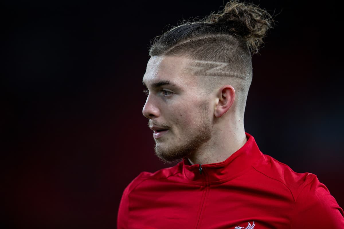 LIVERPOOL, ENGLAND - Tuesday, February 4, 2020: Liverpool's Harvey Elliott during the pre-match warm-up before the FA Cup 4th Round Replay match between Liverpool FC and Shrewsbury Town at Anfield. (Pic by David Rawcliffe/Propaganda)