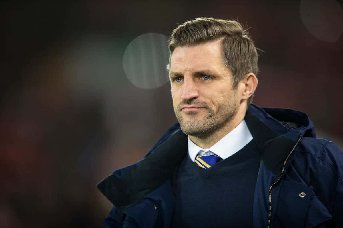 LIVERPOOL, ENGLAND - Tuesday, February 4, 2020: Shrewsbury Town's manager Sam Ricketts during the FA Cup 4th Round Replay match between Liverpool FC and Shrewsbury Town at Anfield. (Pic by David Rawcliffe/Propaganda)