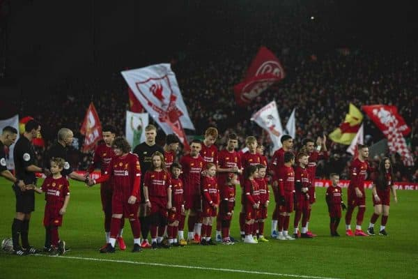 LIVERPOOL, ENGLAND - Tuesday, February 4, 2020: Liverpool's young players line-up before the FA Cup 4th Round Replay match between Liverpool FC and Shrewsbury Town at Anfield. (Pic by David Rawcliffe/Propaganda)
