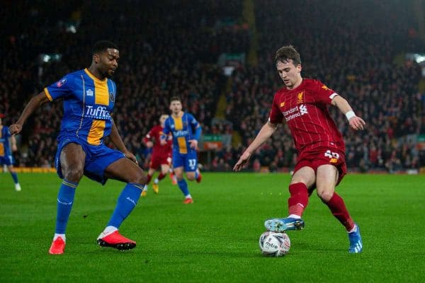 LIVERPOOL, ENGLAND - Tuesday, February 4, 2020: Liverpool's Liam Millar during the FA Cup 4th Round Replay match between Liverpool FC and Shrewsbury Town at Anfield. (Pic by David Rawcliffe/Propaganda)