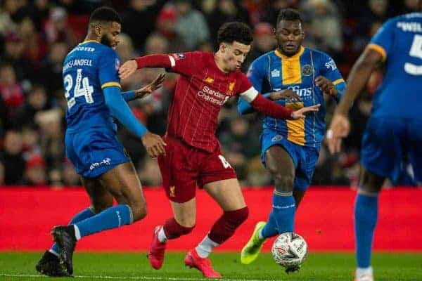 LIVERPOOL, ENGLAND - Tuesday, February 4, 2020: Liverpool's Curtis Jones during the FA Cup 4th Round Replay match between Liverpool FC and Shrewsbury Town at Anfield. (Pic by David Rawcliffe/Propaganda)