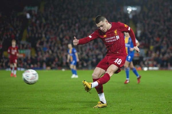 LIVERPOOL, ENGLAND - Tuesday, February 4, 2020: Liverpool's Adam Lewis during the FA Cup 4th Round Replay match between Liverpool FC and Shrewsbury Town at Anfield. (Pic by David Rawcliffe/Propaganda)