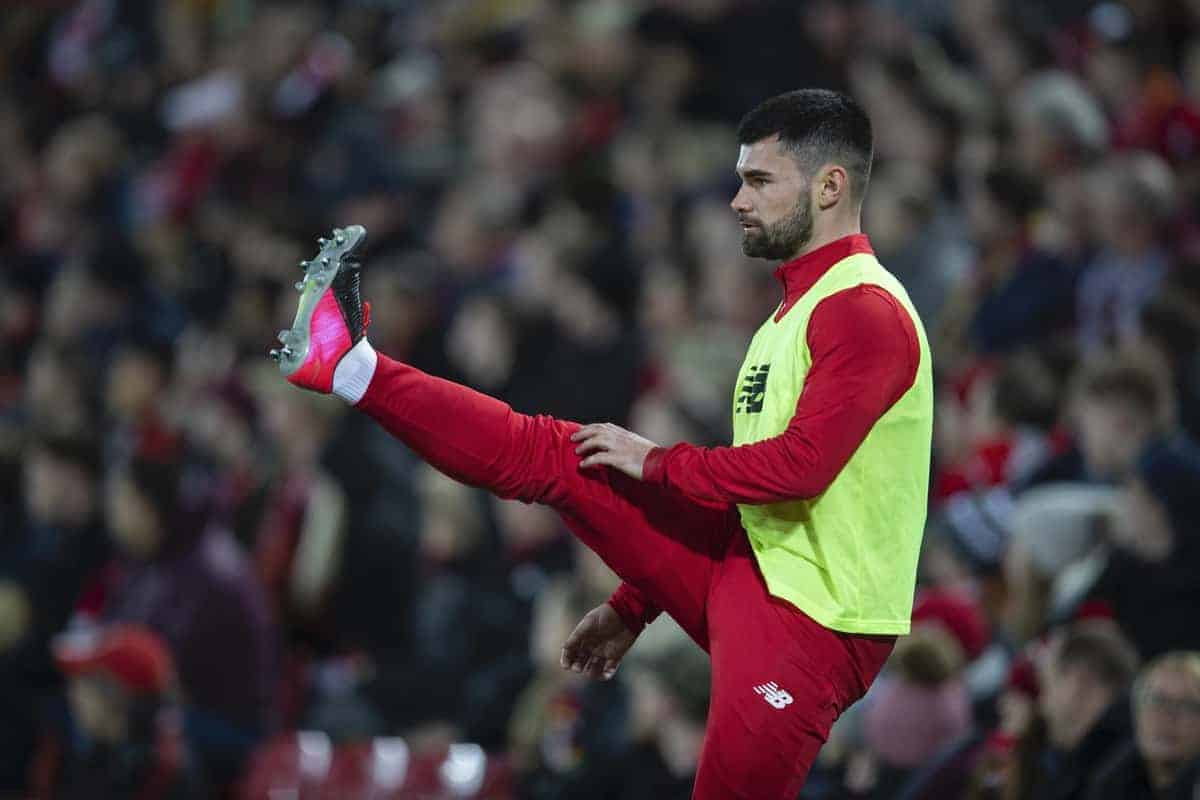 LIVERPOOL, ENGLAND - Tuesday, February 4, 2020: Liverpool's substitute Joe Hardy warms-up during the FA Cup 4th Round Replay match between Liverpool FC and Shrewsbury Town at Anfield. (Pic by David Rawcliffe/Propaganda)