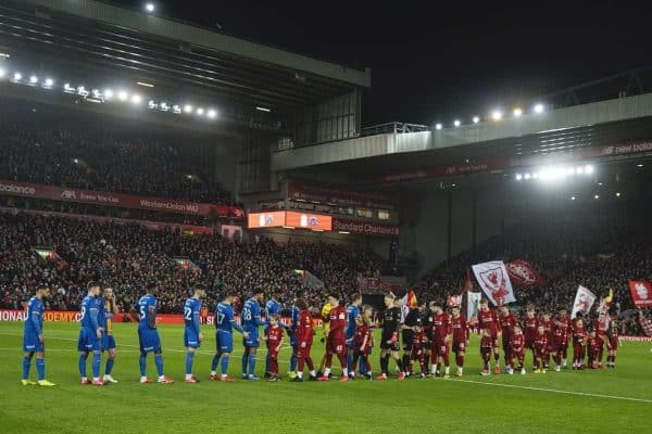 LIVERPOOL, ENGLAND - Tuesday, February 4, 2020: Liverpool and Shrewsbury Town players shake hands before the FA Cup 4th Round Replay match between Liverpool FC and Shrewsbury Town at Anfield. (Pic by David Rawcliffe/Propaganda)