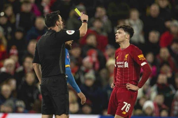 LIVERPOOL, ENGLAND - Tuesday, February 4, 2020: Liverpool's Neco Williams is shown a yellow card by the referee during the FA Cup 4th Round Replay match between Liverpool FC and Shrewsbury Town at Anfield. (Pic by David Rawcliffe/Propaganda)