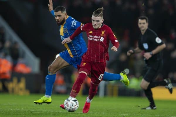 LIVERPOOL, ENGLAND - Tuesday, February 4, 2020: Liverpool's Harvey Elliott (R) gets away from Shrewsbury Town's Scott Golbourne during the FA Cup 4th Round Replay match between Liverpool FC and Shrewsbury Town at Anfield. (Pic by David Rawcliffe/Propaganda)