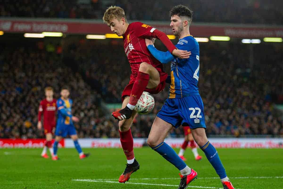 LIVERPOOL, ENGLAND - Tuesday, February 4, 2020: Liverpool's Jake Cain (L) and Shrewsbury Town's Sean Goss during the FA Cup 4th Round Replay match between Liverpool FC and Shrewsbury Town at Anfield. (Pic by David Rawcliffe/Propaganda)
