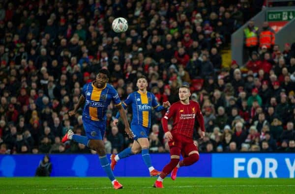 LIVERPOOL, ENGLAND - Tuesday, February 4, 2020: Shrewsbury Town's Ro-Shaun Williams scores an own-goal during the FA Cup 4th Round Replay match between Liverpool FC and Shrewsbury Town at Anfield. (Pic by David Rawcliffe/Propaganda)