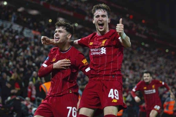 LIVERPOOL, ENGLAND - Tuesday, February 4, 2020: Liverpool's Neco Williams (L) and Liam Millar celebrate after an own-goal by Shrewsbury Town during the FA Cup 4th Round Replay match between Liverpool FC and Shrewsbury Town at Anfield. (Pic by David Rawcliffe/Propaganda)
