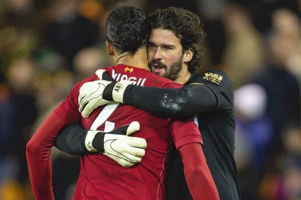 NORWICH, ENGLAND - Saturday, February 15, 2020: Liverpool's goalkeeper Alisson Becker (R) celebrates with Virgil van Dijk after the FA Premier League match between Norwich City FC and Liverpool FC at Carrow Road. Liverpool won 1-0. (Pic by David Rawcliffe/Propaganda)