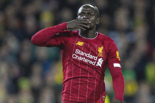 NORWICH, ENGLAND - Saturday, February 15, 2020: Liverpool's Sadio Mané celebrates scoring the only goal of the game during the FA Premier League match between Norwich City FC and Liverpool FC at Carrow Road. Liverpool won 1-0. (Pic by David Rawcliffe/Propaganda)