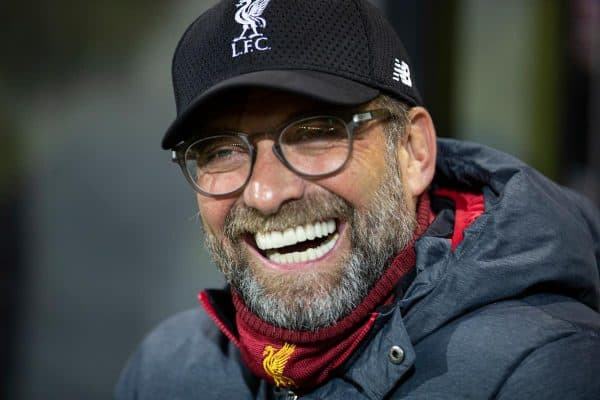 NORWICH, ENGLAND - Saturday, February 15, 2020: Liverpool's manager Jürgen Klopp before the FA Premier League match between Norwich City FC and Liverpool FC at Carrow Road. (Pic by David Rawcliffe/Propaganda)