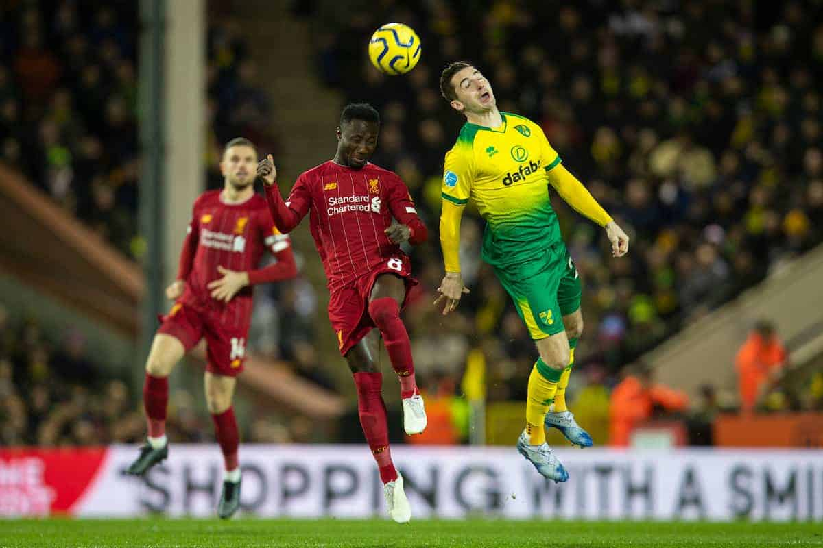 NORWICH, ENGLAND - Saturday, February 15, 2020: Liverpool's Naby Keita (L) challenges for a header with Norwich City's Kenny McLean during the FA Premier League match between Norwich City FC and Liverpool FC at Carrow Road. (Pic by David Rawcliffe/Propaganda)