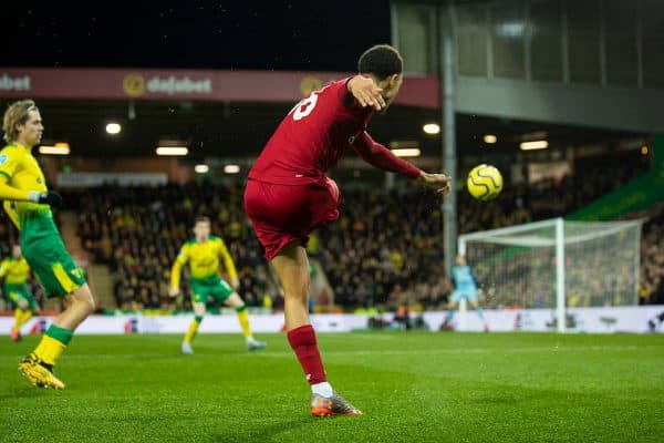 NORWICH, ENGLAND - Saturday, February 15, 2020: Liverpool's Trent Alexander-Arnold crosses the ball during the FA Premier League match between Norwich City FC and Liverpool FC at Carrow Road. (Pic by David Rawcliffe/Propaganda)