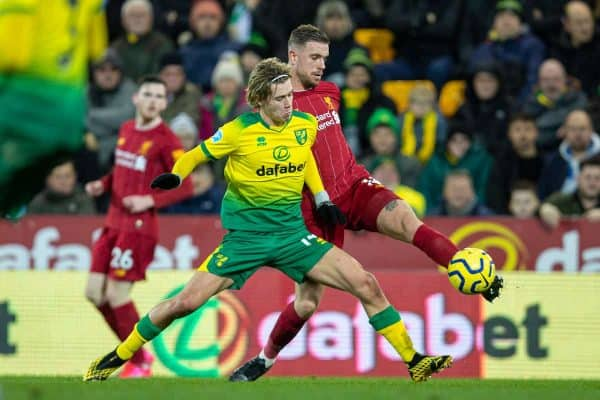 NORWICH, ENGLAND - Saturday, February 15, 2020: Liverpool's captain Jordan Henderson (R) and Norwich City's Todd Cantwell during the FA Premier League match between Norwich City FC and Liverpool FC at Carrow Road. (Pic by David Rawcliffe/Propaganda)
