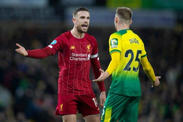 NORWICH, ENGLAND - Saturday, February 15, 2020: Liverpool's captain Jordan Henderson (L) with Norwich City's Ondrej Duda during the FA Premier League match between Norwich City FC and Liverpool FC at Carrow Road. (Pic by David Rawcliffe/Propaganda)