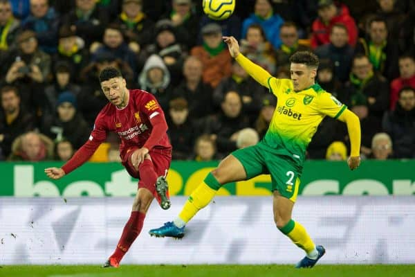 NORWICH, ENGLAND - Saturday, February 15, 2020: Liverpool's Alex Oxlade-Chamberlain during the FA Premier League match between Norwich City FC and Liverpool FC at Carrow Road. (Pic by David Rawcliffe/Propaganda)