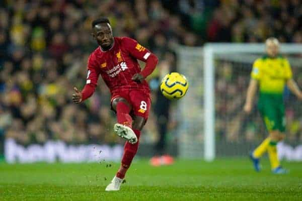 NORWICH, ENGLAND - Saturday, February 15, 2020: Liverpool's Naby Keita during the FA Premier League match between Norwich City FC and Liverpool FC at Carrow Road. (Pic by David Rawcliffe/Propaganda)