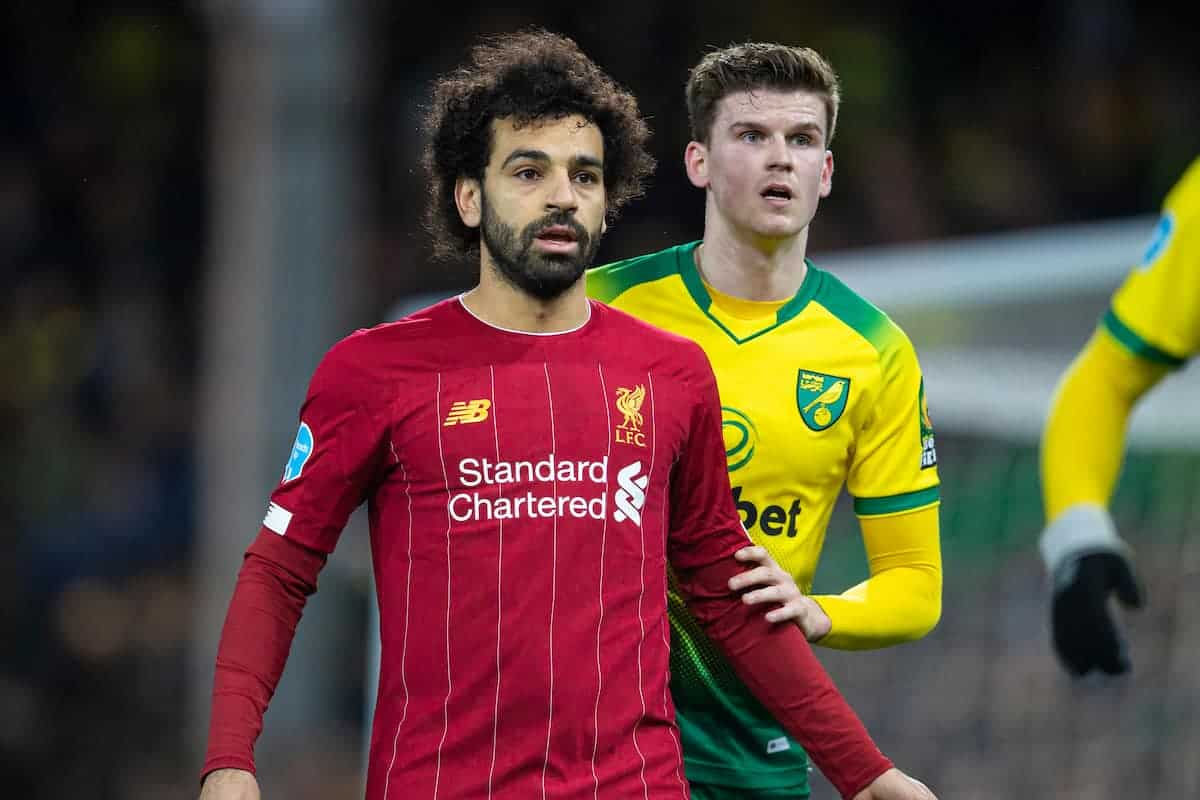 NORWICH, ENGLAND - Saturday, February 15, 2020: Liverpool's Mohamed Salah during the FA Premier League match between Norwich City FC and Liverpool FC at Carrow Road. (Pic by David Rawcliffe/Propaganda)
