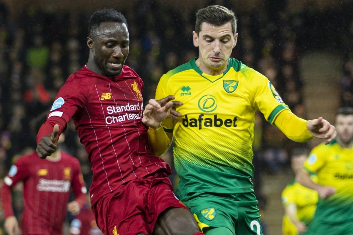 NORWICH, ENGLAND - Saturday, February 15, 2020: Liverpool's Naby Keita (L) and Norwich City's Kenny McLean during the FA Premier League match between Norwich City FC and Liverpool FC at Carrow Road. (Pic by David Rawcliffe/Propaganda)