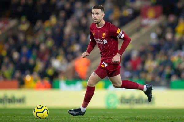 NORWICH, ENGLAND - Saturday, February 15, 2020: Liverpool's captain Jordan Henderson during the FA Premier League match between Norwich City FC and Liverpool FC at Carrow Road. (Pic by David Rawcliffe/Propaganda)