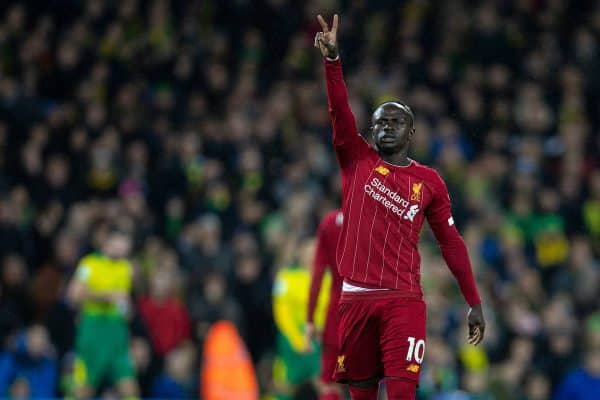 Liverpool's Sadio Mané celebrates scoring the first goal during the FA Premier League match between Norwich City FC and Liverpool FC at Carrow Road. (Pic by David Rawcliffe/Propaganda)