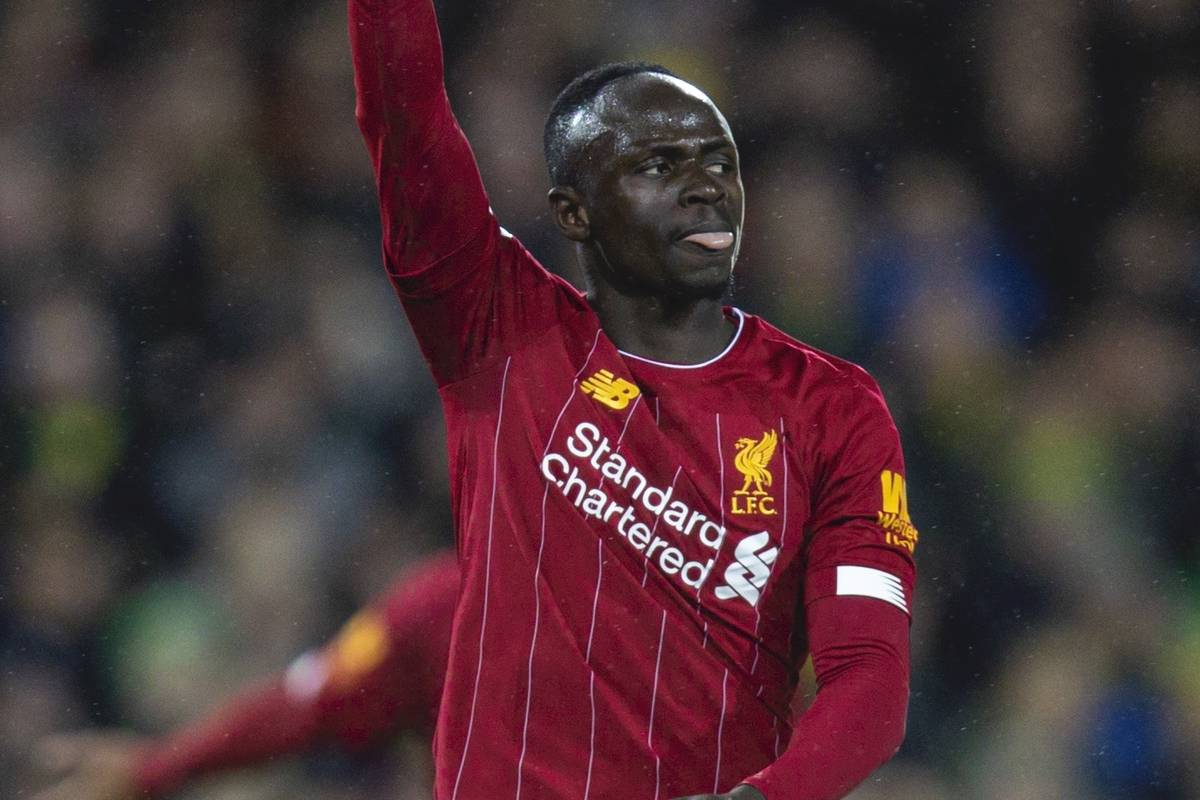 NORWICH, ENGLAND - Saturday, February 15, 2020: Liverpool's Sadio Mané celebrates scoring the first goal during the FA Premier League match between Norwich City FC and Liverpool FC at Carrow Road. (Pic by David Rawcliffe/Propaganda)