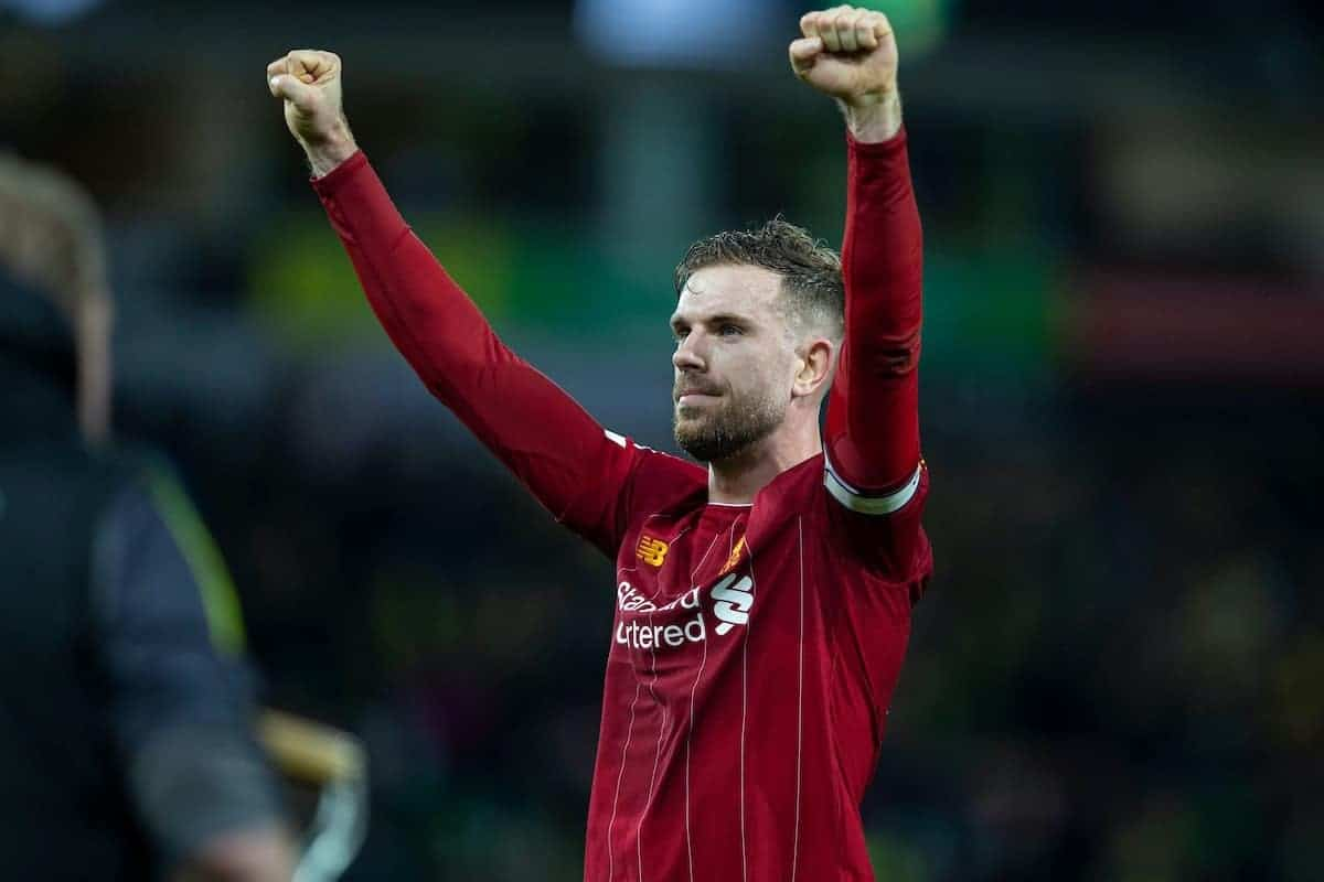 NORWICH, ENGLAND - Saturday, February 15, 2020: Liverpool's captain Jordan Henderson celebrates after the FA Premier League match between Norwich City FC and Liverpool FC at Carrow Road. Liverpool won 1-0. (Pic by David Rawcliffe/Propaganda)