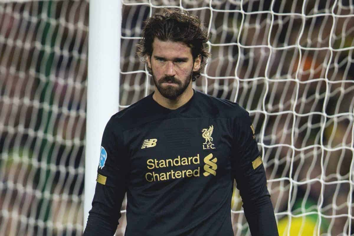 NORWICH, ENGLAND - Saturday, February 15, 2020: Liverpool's goalkeeper Alisson Becker during the FA Premier League match between Norwich City FC and Liverpool FC at Carrow Road. (Pic by David Rawcliffe/Propaganda)