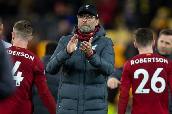 NORWICH, ENGLAND - Saturday, February 15, 2020: Liverpool's manager Jürgen Klopp celebrates after the FA Premier League match between Norwich City FC and Liverpool FC at Carrow Road. Liverpool won 1-0. (Pic by David Rawcliffe/Propaganda)