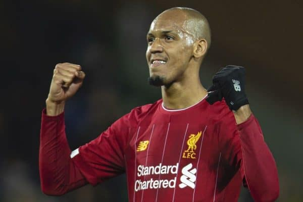 NORWICH, ENGLAND - Saturday, February 15, 2020: Liverpool's Fabio Henrique Tavares 'Fabinho' celebrates after the FA Premier League match between Norwich City FC and Liverpool FC at Carrow Road. Liverpool won 1-0. (Pic by David Rawcliffe/Propaganda)