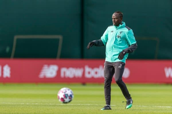 Liverpool's Sadio Mané during a training session at Melwood Training Ground ahead of the UEFA Champions League Round of 16 1st Leg match between Club Atlético de Madrid and Liverpool FC. (Pic by Paul Greenwood/Propaganda)