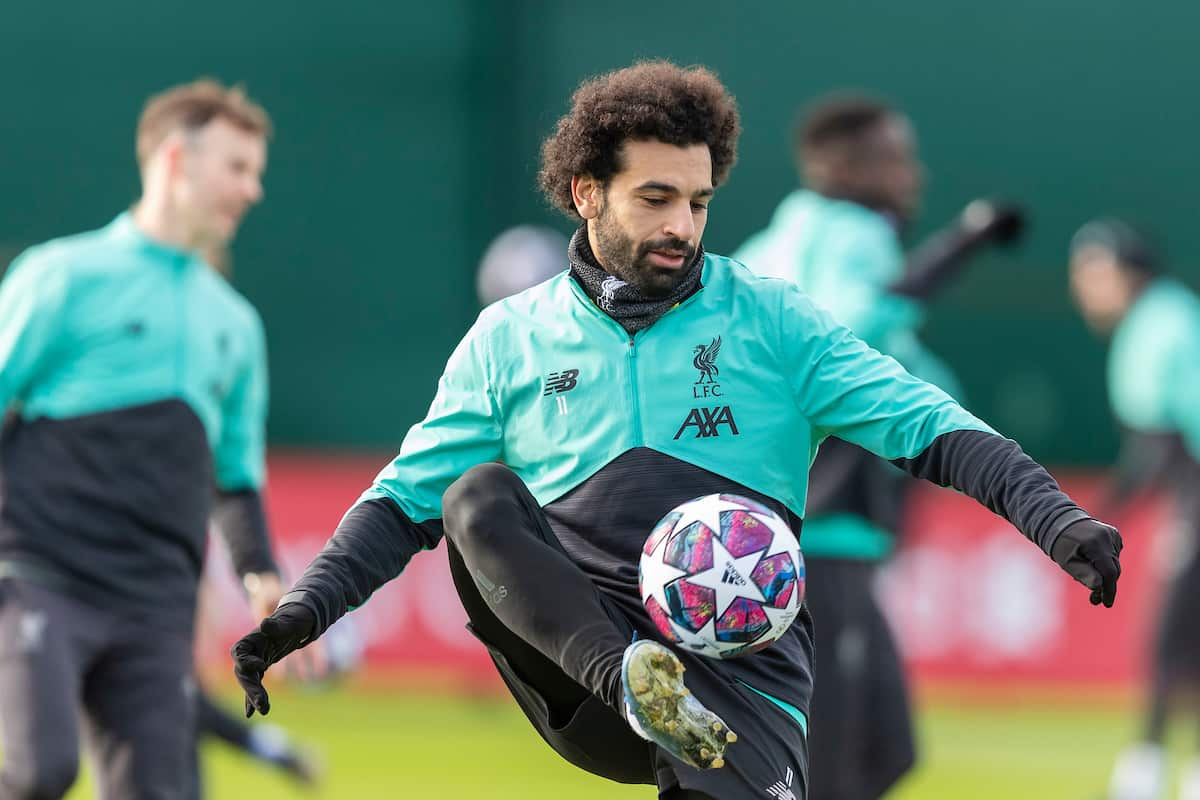 LIVERPOOL, ENGLAND - Monday, February 17, 2020: Liverpool's Mohamed Salah during a training session at Melwood Training Ground ahead of the UEFA Champions League Round of 16 1st Leg match between Club Atlético de Madrid and Liverpool FC. (Pic by Paul Greenwood/Propaganda)