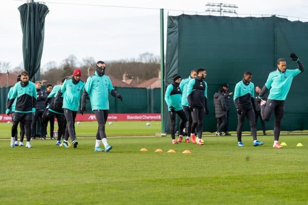 LIVERPOOL, ENGLAND - Monday, February 17, 2020: Liverpool players during a training session at Melwood Training Ground ahead of the UEFA Champions League Round of 16 1st Leg match between Club Atlético de Madrid and Liverpool FC. (Pic by Paul Greenwood/Propaganda) Virgil van Dijk, Fabio Henrique Tavares 'Fabinho', Roberto Firmino, Joe Gomez, Georginio Wijnaldum