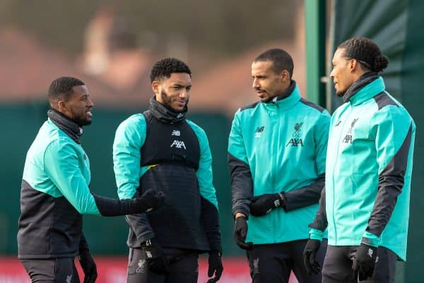 LIVERPOOL, ENGLAND - Monday, February 17, 2020: Liverpool's Georginio Wijnaldum, Joe Gomez, Joel Matip and Virgil van Dijk during a training session at Melwood Training Ground ahead of the UEFA Champions League Round of 16 1st Leg match between Club Atlético de Madrid and Liverpool FC. (Pic by Paul Greenwood/Propaganda)
