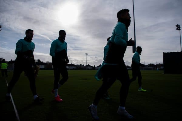 Liverpool's players during a training session at Melwood Training Ground ahead of the UEFA Champions League Round of 16 1st Leg match between Club Atlético de Madrid and Liverpool FC. (Pic by Paul Greenwood/Propaganda)