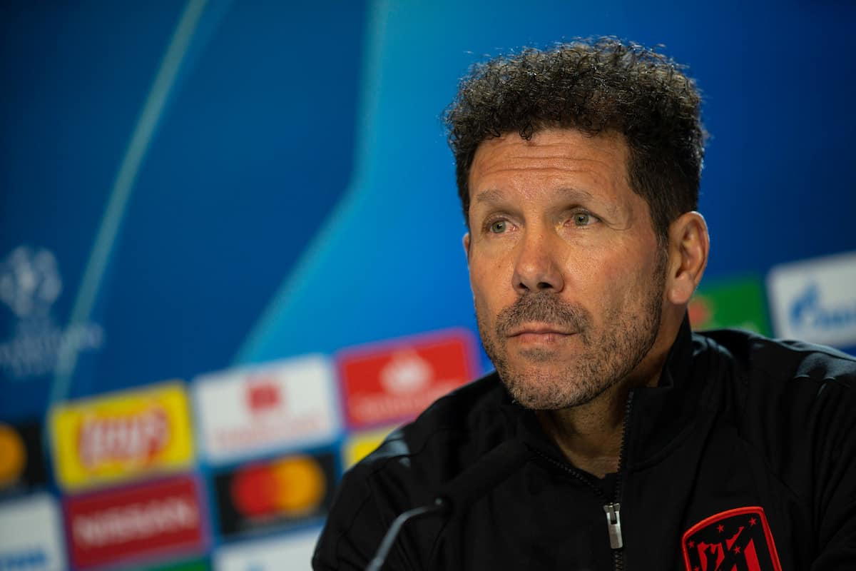 MADRID, SPAIN - Monday, February 17, 2020: Club Atlético de Madrid's head coach Diego Simeone during a press conference at the Estadio Estadio Metropolitano ahead of the UEFA Champions League Round of 16 1st Leg match between Club Atlético de Madrid and Liverpool FC. (Pic by David Rawcliffe/Propaganda)