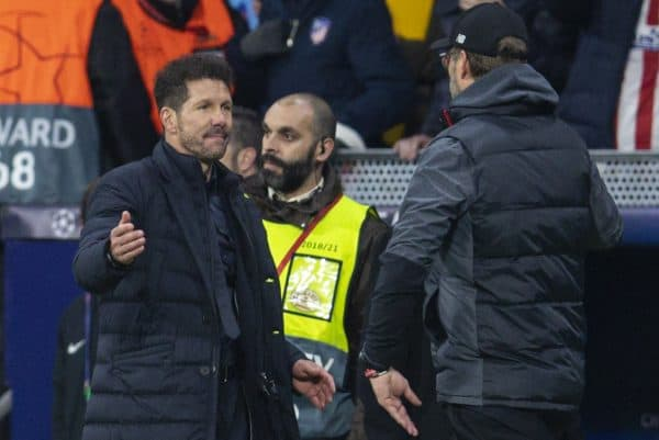 MADRID, SPAIN - Tuesday, February 18, 2020: Club Atlético de Madrid's head coach Diego Simeone (L) shakes hands with Liverpool's manager Jürgen Klopp after the UEFA Champions League Round of 16 1st Leg match between Club Atlético de Madrid and Liverpool FC at the Estadio Metropolitano. Club Atlético de Madrid won 1-0. (Pic by David Rawcliffe/Propaganda)