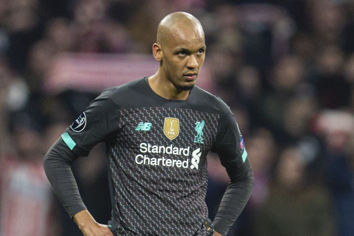 MADRID, SPAIN - Tuesday, February 18, 2020: Liverpool's Fabio Henrique Tavares 'Fabinho' looks dejected during the UEFA Champions League Round of 16 1st Leg match between Club Atlético de Madrid and Liverpool FC at the Estadio Metropolitano. Club Atlético de Madrid won 1-0. (Pic by David Rawcliffe/Propaganda)
