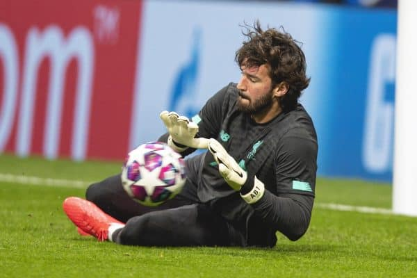 MADRID, SPAIN - Tuesday, February 18, 2020: Liverpool's goalkeeper Alisson Becker during the pre-match warm-up before the UEFA Champions League Round of 16 1st Leg match between Club Atlético de Madrid and Liverpool FC at the Estadio Metropolitano. (Pic by David Rawcliffe/Propaganda)