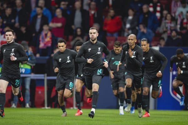 MADRID, SPAIN - Tuesday, February 18, 2020: Liverpool's captain Jordan Henderson during the pre-match warm-up before the UEFA Champions League Round of 16 1st Leg match between Club Atlético de Madrid and Liverpool FC at the Estadio Metropolitano. (Pic by David Rawcliffe/Propaganda)