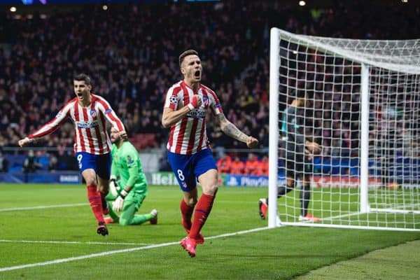 MADRID, SPAIN - Tuesday, February 18, 2020: Club Atlético de Madrid's Sau?l N?i?guez celebrates scoring the first goal during the UEFA Champions League Round of 16 1st Leg match between Club Atlético de Madrid and Liverpool FC at the Estadio Metropolitano. (Pic by David Rawcliffe/Propaganda)